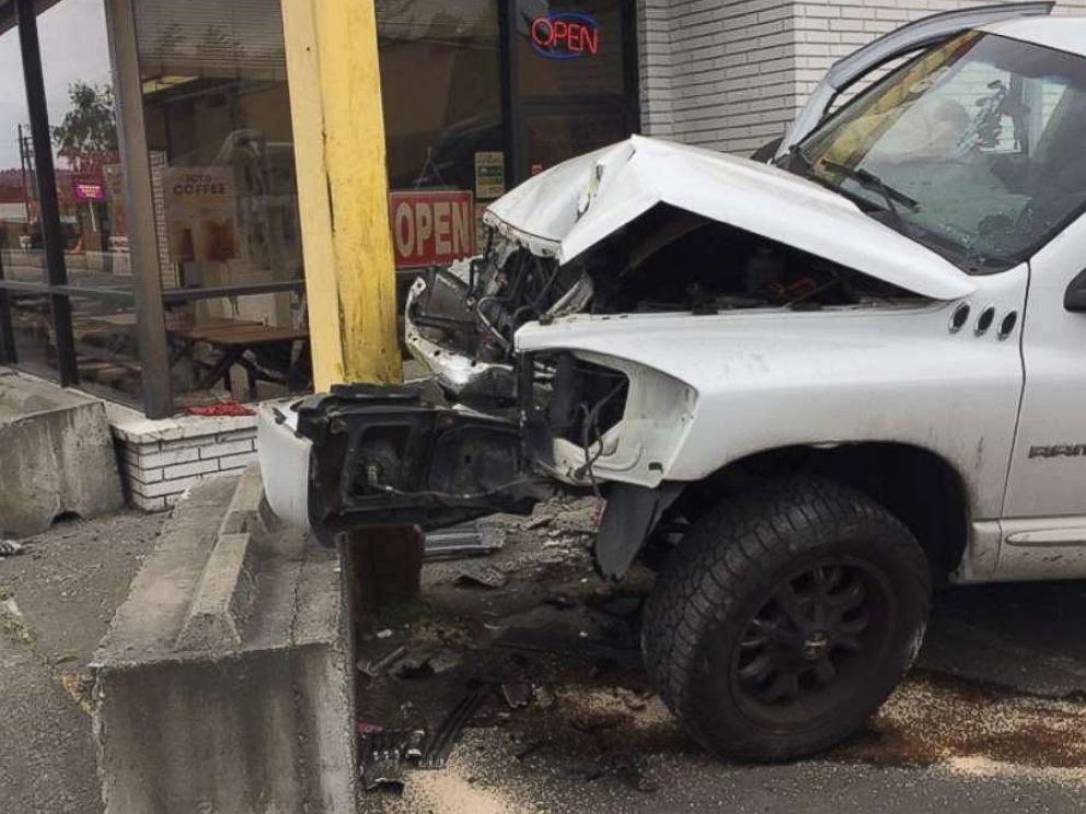 A driver was arrested for DUI on Friday, June 8, 2018, after he slammed into the front of a donut shop in Auburn, Washington.  Video shows truck plow into donut shop at full speed, narrowly missing customers donut shop crash ho mo 20180609 hpMain 4x3 992