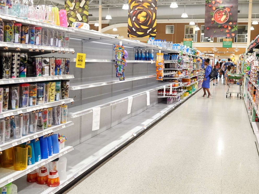 PHOTO: Empty shelves are seen in a drinks section of a store ahead of Hurricane Dorian in Cocoa Beach, Florida, U.S., on Thursday, Aug. 29, 2019.