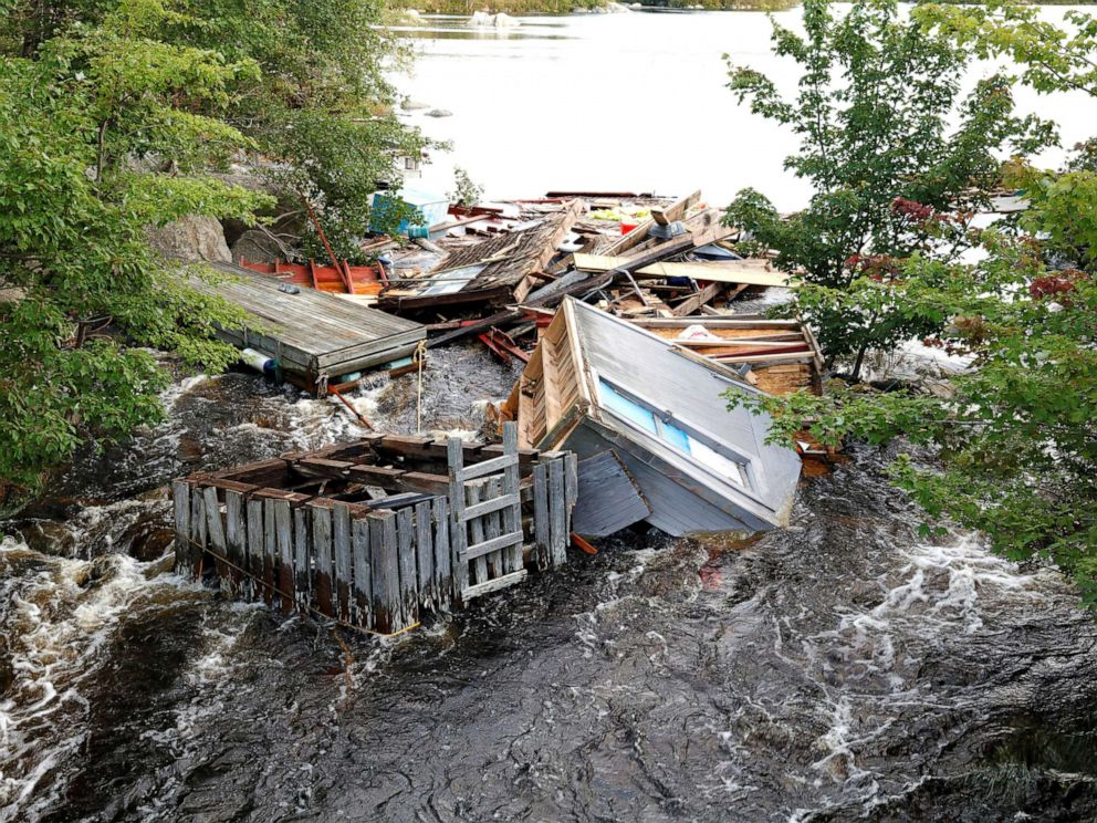 PHOTO: A fishing shed is caught in a river after the departure of Hurricane Dorian in Halifax, Nova Scotia, Canada, Sept. 8, 2019.