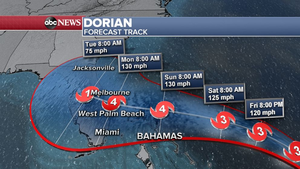 PHOTO: Hurricane Dorian forecast track, Aug. 29, 2019.