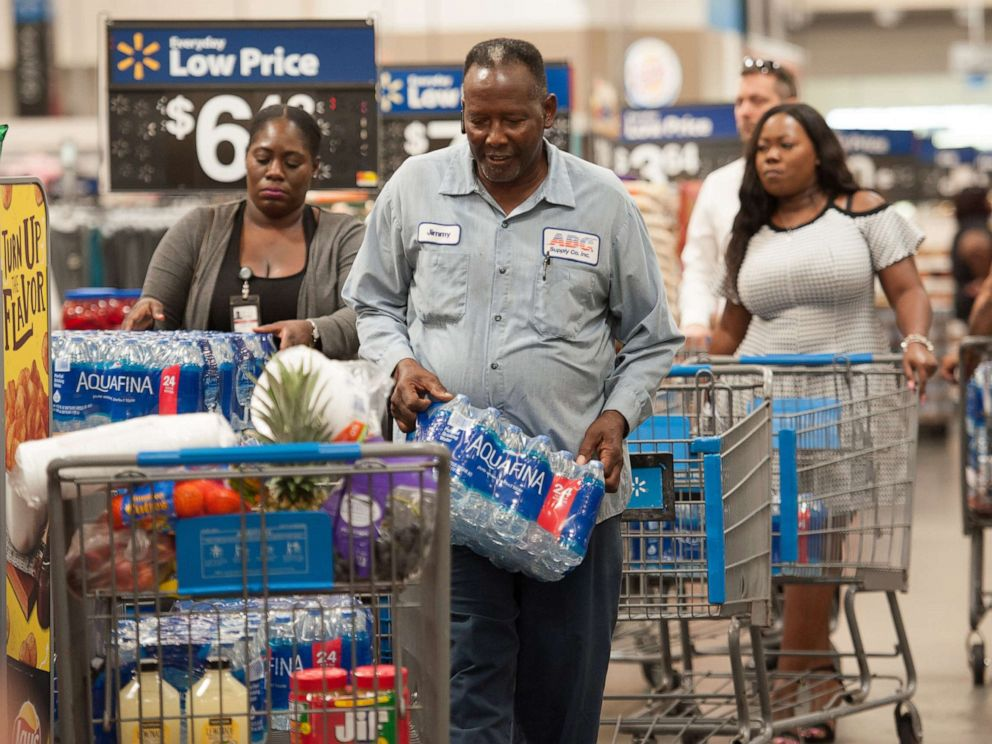 PHOTO: Florida residents stock up with groceries and water in preparation for Hurricane Dorian, in Fort Lauderdale, Fla., Aug. 28, 2019.