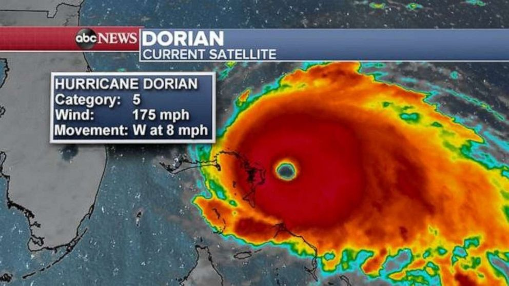 PHOTO: A satellite graphic showing Hurricane Dorian, Sept. 1, 2019.