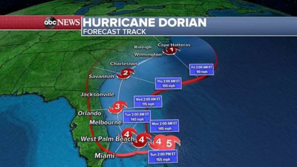 PHOTO: The forecast track for Hurricane Dorian, Sept. 1, 2019.