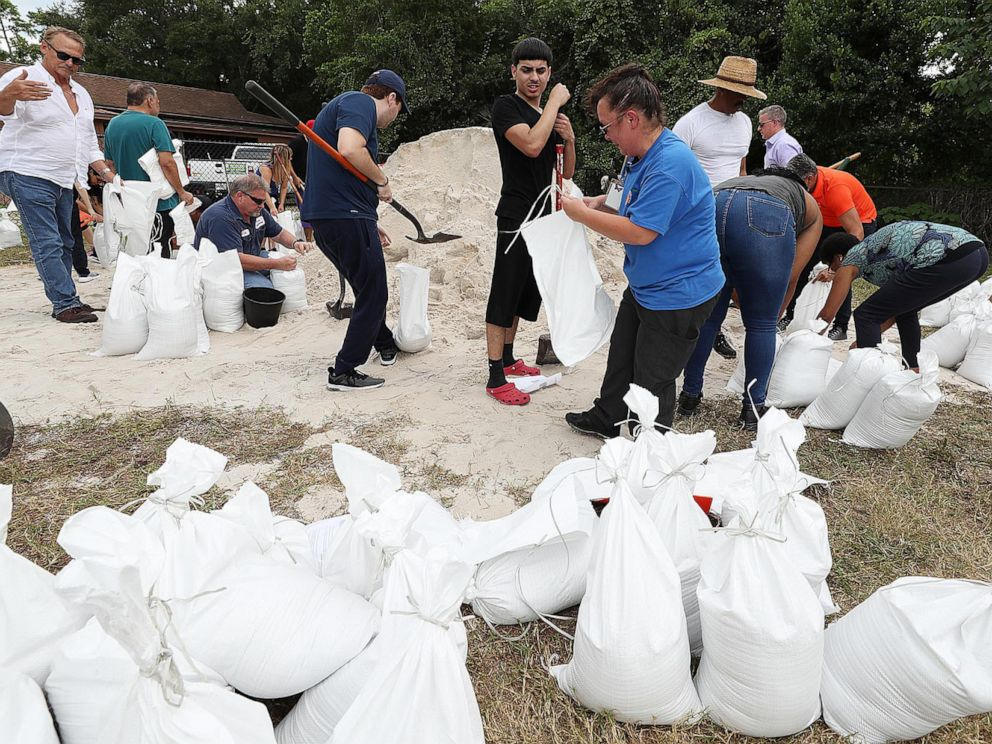 PHOTO: Orange County residents fill sandbags at Blanchard Park in Orlando, Fla., Aug. 28, 2019. The sandbags are being offered in advance of Hurricane Dorian, which is forecast to likely hit Florida.