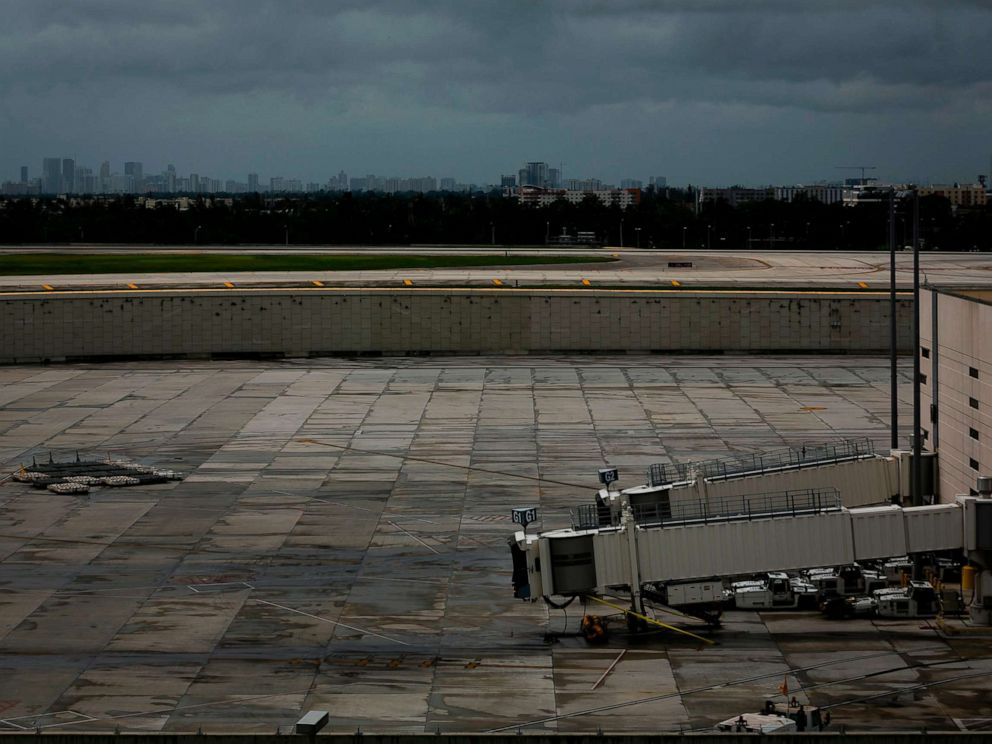 PHOTO: Empty gates are seen at Fort Lauderdale-Hollywood International Airport in Fort Lauderdale, Fla., Sept. 2, 2019. Lauderdale-Hollywood International Airport closed due to winds associated with Hurricane Dorian.