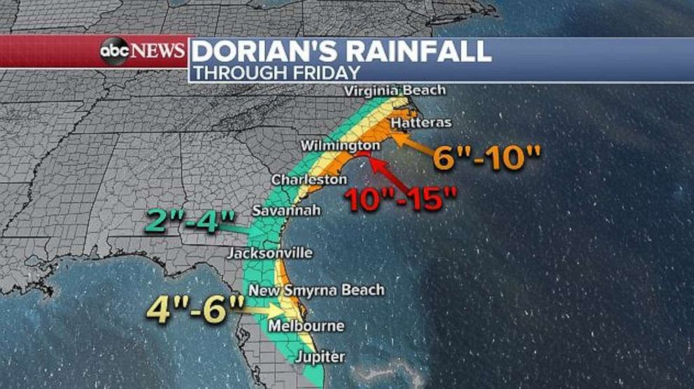 PHOTO: Even if it remains largely offshore, 10 to 15 inches of rain is possible along the Carolina coast.