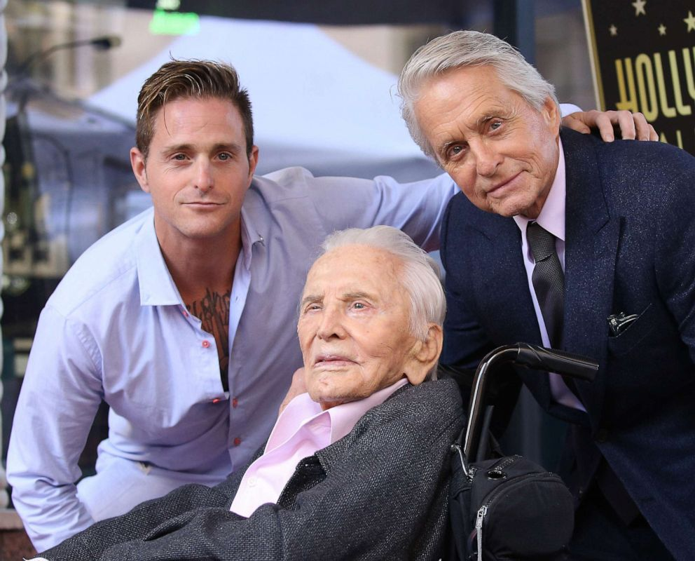 PHOTO: Cameron Douglas, Kirk Douglas and Michael Douglas attend the ceremony honoring Michael Douglas with a Star on The Hollywood Walk of Fame held on November 06, 2018, in Hollywood.