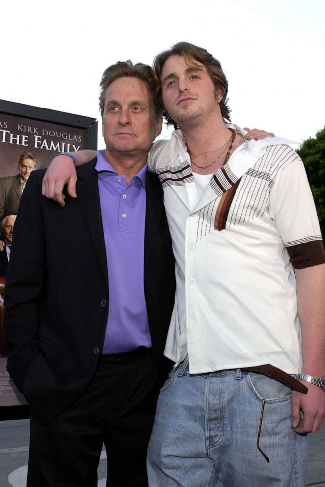 PHOTO: Michael Douglas & Cameron Douglas attend the premiere of It Runs In The Family in Westwood, Calif., April 07, 2003.