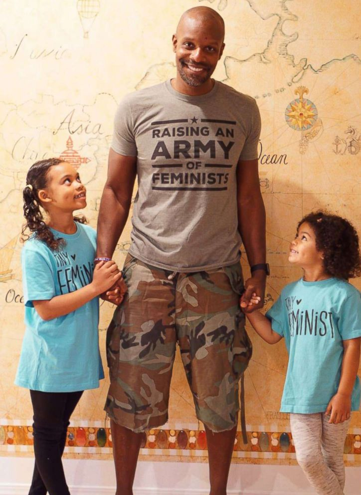 PHOTO: Doyin Richards, 43, with his daughters, Emiko, 7, and Reiko, 5.