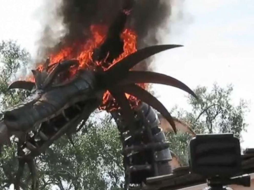 The dragon float in the Festival of Fantasy parade at Disney World caught fire on Friday, May 11, 2018. No one was injured.
