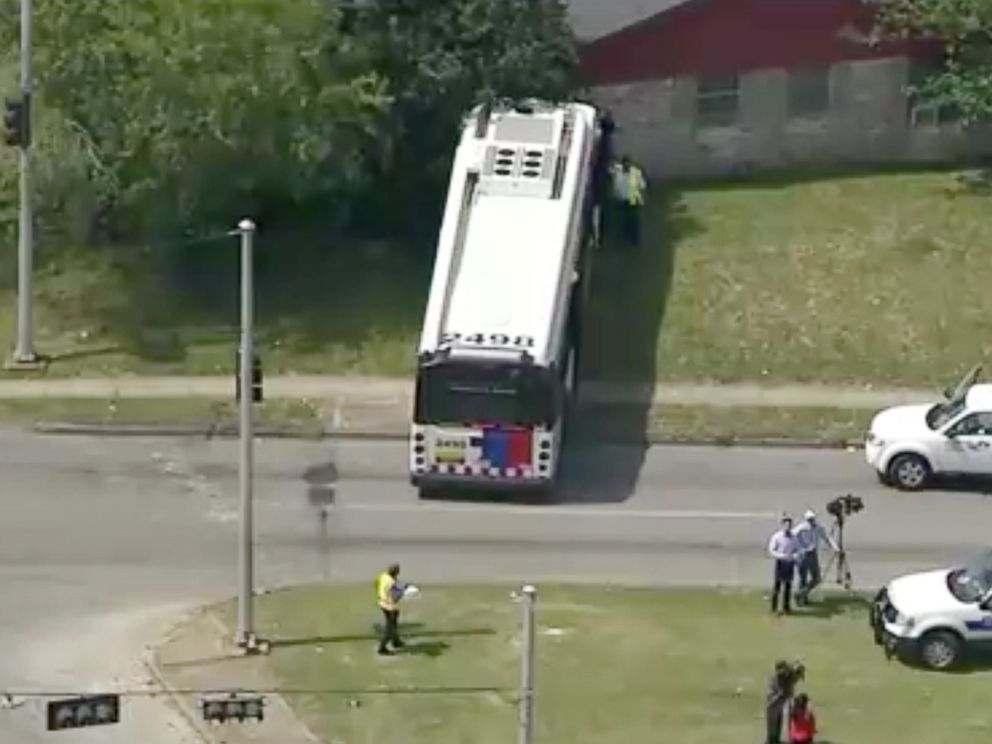 PHOTO: The bus is seen at the scene of the crime in southeast Houston.