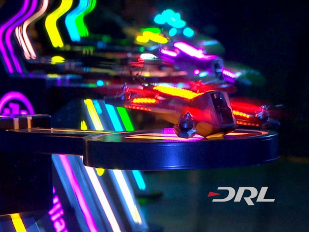 PHOTO: DRL drones launch at the start of a race.