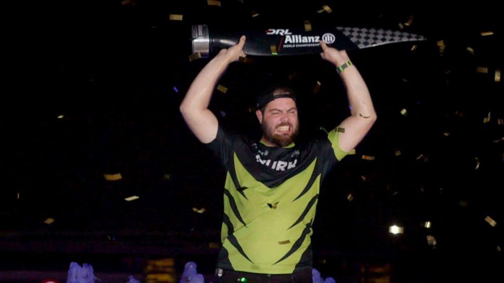 PHOTO: Professional DRL drone racer Paul NURK Nurkkala celebrates his 2018 world championship victory.