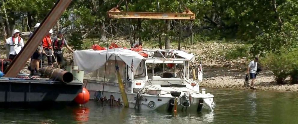PHOTO: Investigators raised the duck boat, July 23, 2018, that capsized killing 17 people on Table Rock Lake near Branson, Mo.