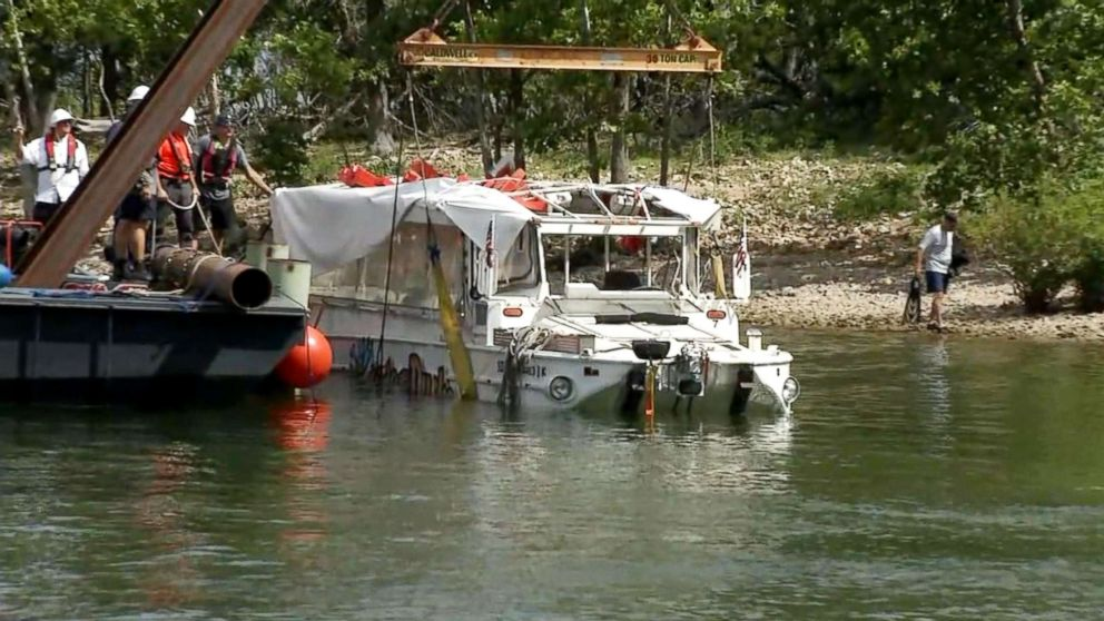 Investigators raised the duck boat, July 23, 2018, that capsized killing 17 people on Table Rock Lake near Branson, Mo.