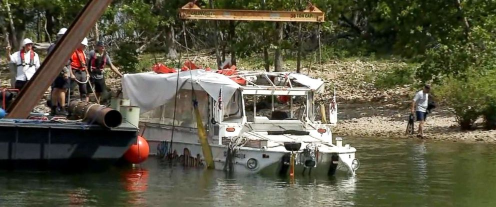 PHOTO: Investigators raised the duck boat, July 23, 2018, that capsized killing 17 people on Table Rock Lake near Banson, Miss.