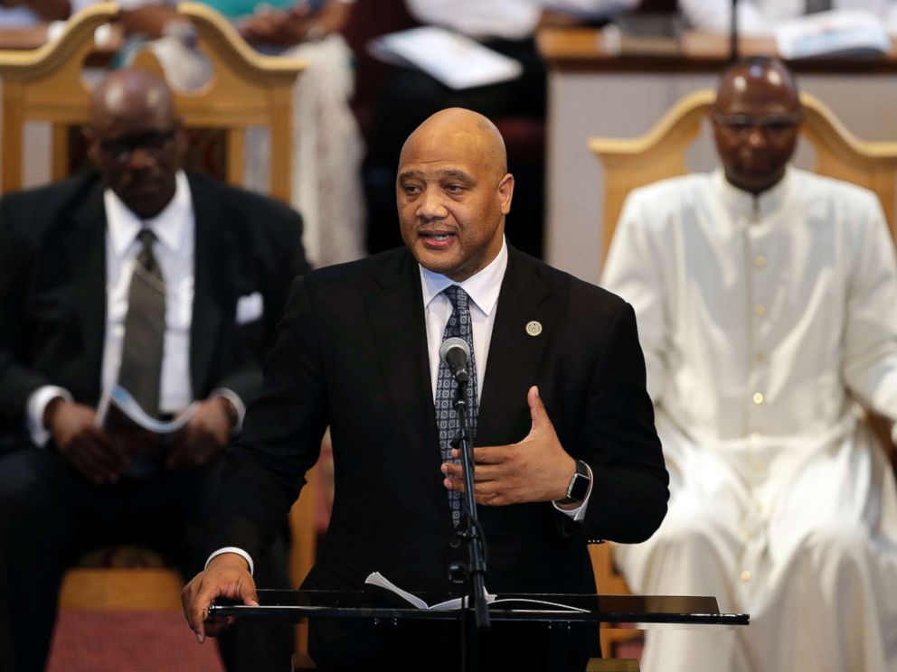 PHOTO: Congressman Andre Carson speaks all the way thru the funeral of Glenn Coleman, Reece Coleman, Evan Coleman and Arya Coleman, Friday, July 27, 2018, in Indianapolis.