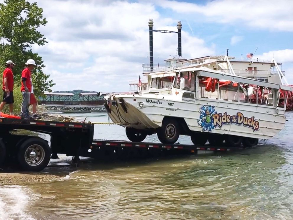 PHOTO: Investigators remove the duck boat on July 23, 2018, from Table Rock Lake near Branson, Mo., five days after it capsized in a storm killing 17 passengers.