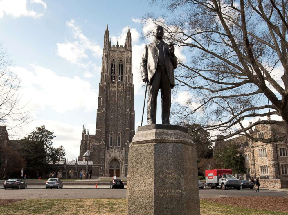 PHOTO: A status of James Buchanan Duke sits in front of the Duke University Chapel on the campus of the school in Durham, N.C., March 4, 2016.