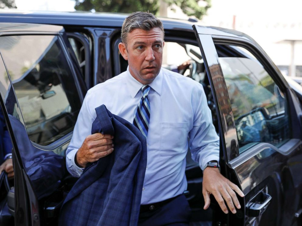 PHOTO: Rep. Duncan Hunter arrives for his arraignment at federal court in San Diego, Calif., Aug. 23, 2018.