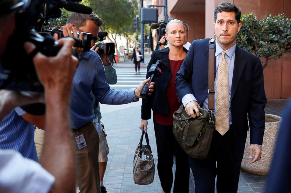 PHOTO: The wife of Congressman Duncan Hunter, Margaret, arrives for her arraignment at federal court in San Diego, Calif., Aug. 23, 2018.