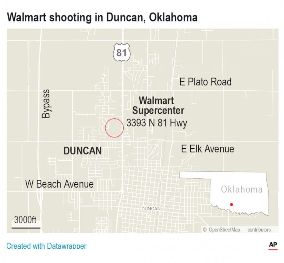 PHOTO: Map of Walmart in Duncan, Oklahoma.