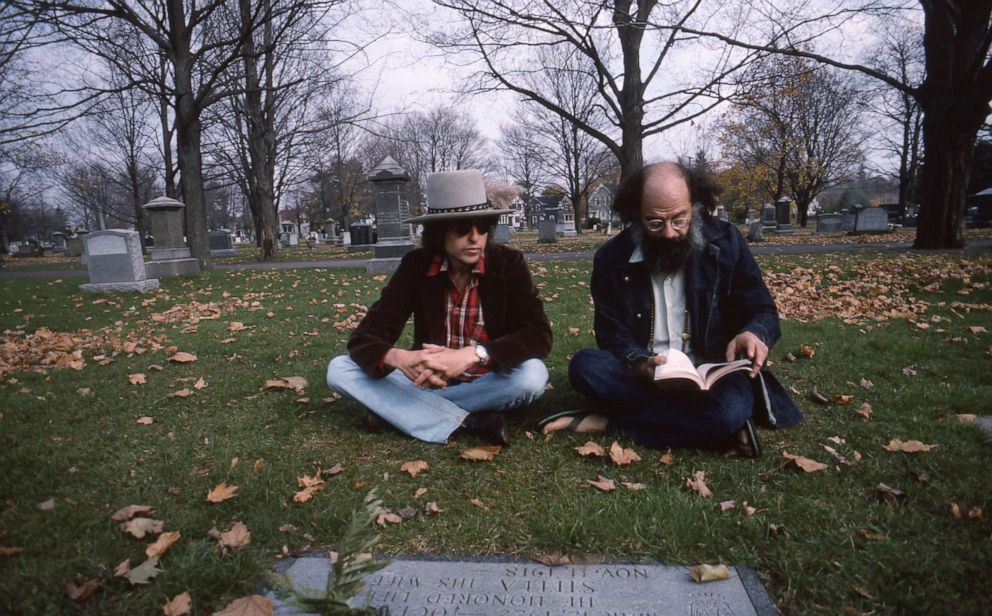 PHOTO: Bob Dylan and poet Allen Ginsberg at the grave of Beat writer Jack Kerouac in 1975.
