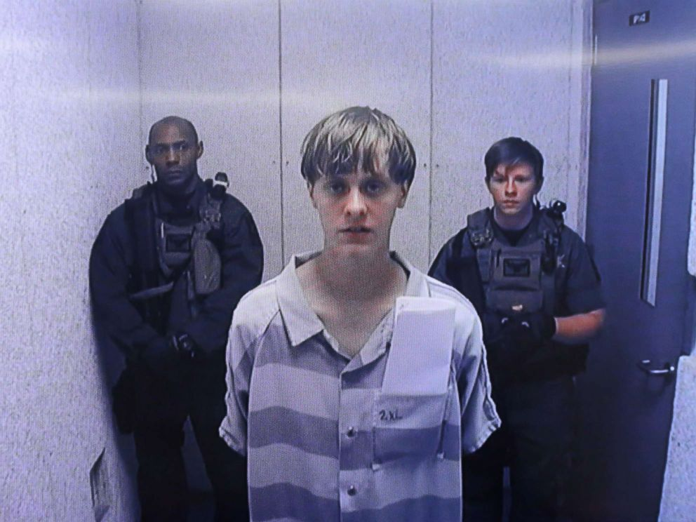 PHOTO: Dylann Roof appears at Centralized Bond Hearing Court on June 19, 2015 in North Charleston, South Carolina.