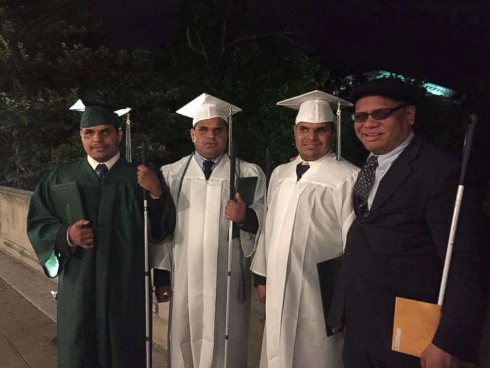 PHOTO: Ollie Cantos, far right, takes a picture with his sons Nick, Leo and Steven Cantos at their high school graduation. Ollie Cantos said that life with the triplets is incredible.