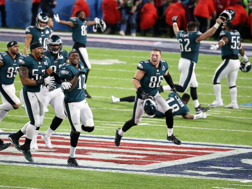 PHOTO: The Philadelphia Eagles celebrate after defeating the New England Patriots in Super Bowl LII at U.S. Bank Stadium on Feb 4, 2018 in Minneapolis.
