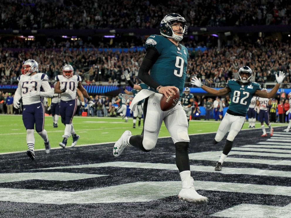 PHOTO: Nick Foles of the Philadelphia Eagles reacts after a 1-yard touchdown reception against the New England Patriots during the second quarter in Super Bowl LII at U.S. Bank Stadium on Feb. 4, 2018 in Minneapolis.