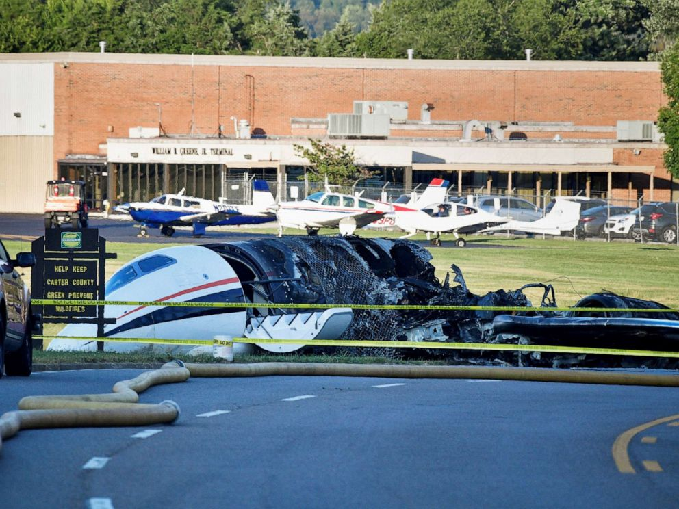 PHOTO: The wreckage of a plane crash involving NASCAR driver Dale Earnhardt Jr. and his family, who survived the incident, in Elizabethton, Tenn., Aug. 15, 2019.