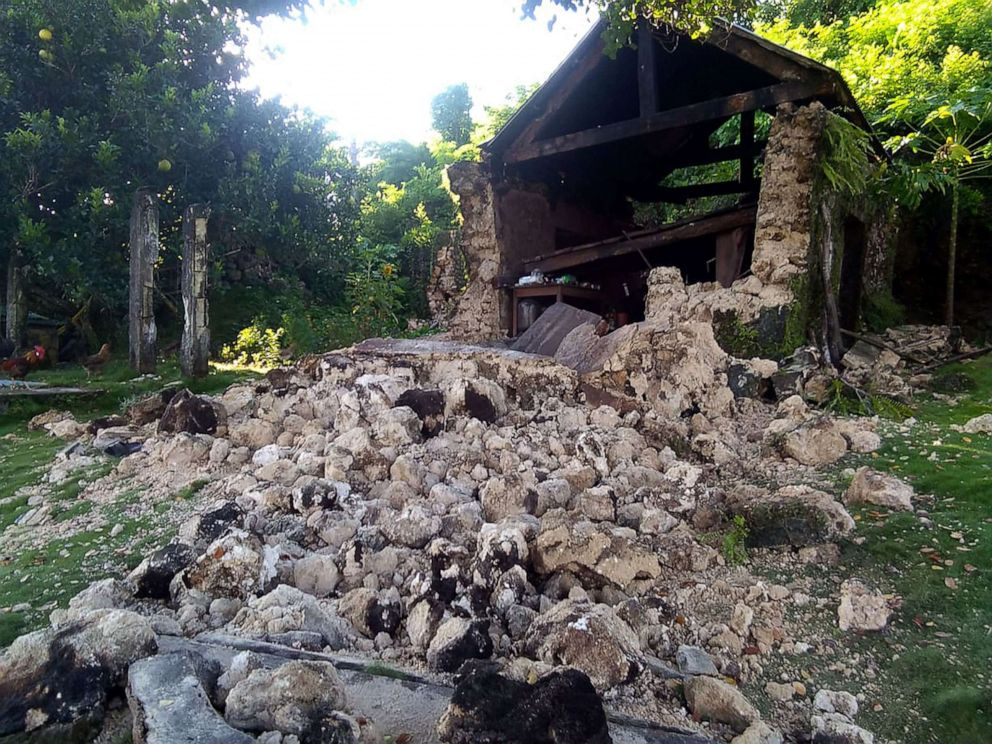 PHOTO: Damage caused to a building after a pair of strong earthquakes, July 27, 2019, in Itbayat on Batanes Island in the Philippines.