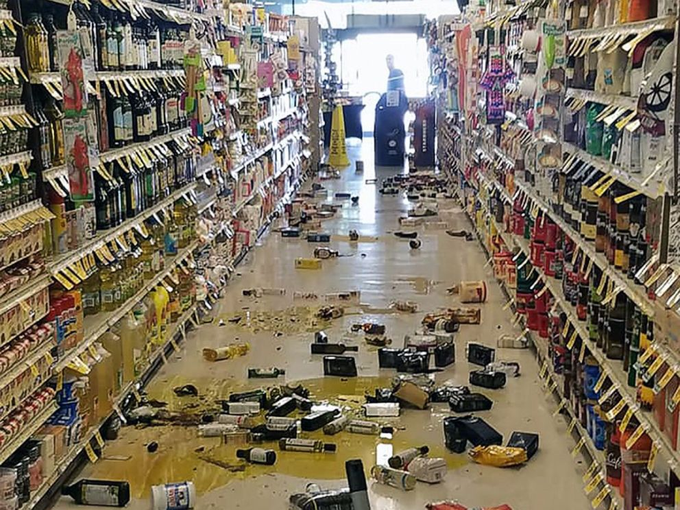 PHOTO: This handout picture obtained courtesy of Rex Emerson taken on July 4, 2019 shows broken bottles and other goods in a store in Lake Isabella, Calif., after a 6.4 magnitude quake hit Southern California.