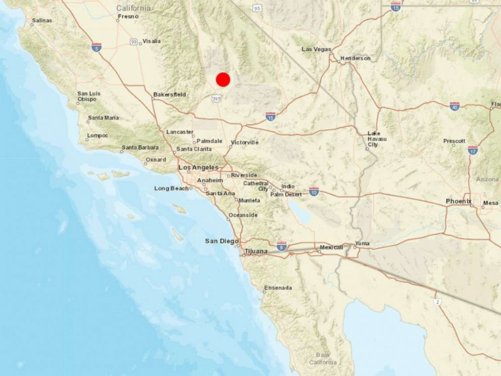PHOTO: A map released by the USGS locates a California earthquake that the agency said was measured at 6.4 on the Richter scale, July 4, 2019.
