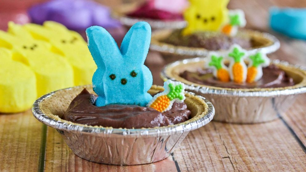 """Food blogger Katrina Bahl, of """"In Katrina's Kitchen"""" shared this recipe for Peeps Pudding S'mores Pies."""