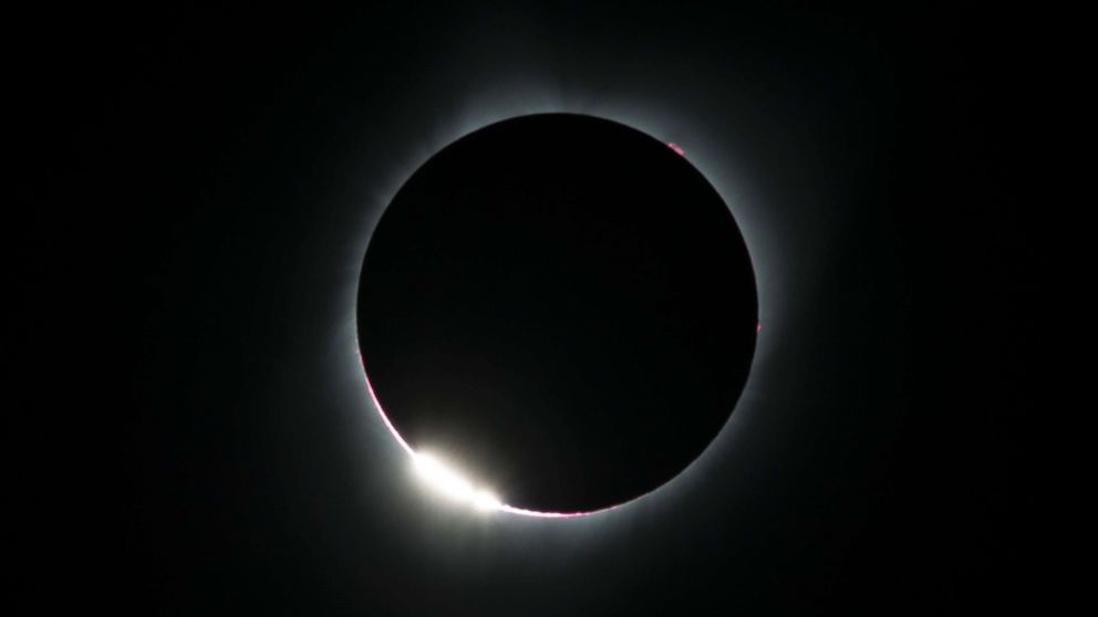 """The """"diamond ring effect"""" is seen during a total solar eclipse as seen from the Lowell Observatory Solar Eclipse Experience on August 21, 2017 in Madras, Oregon."""