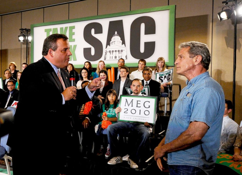 PHOTO: New Jersey Gov. Chris Christie, left, confronts Ed Buck who disrupted California Republican Party gubernatorial candidate Meg Whitmans campaign event, Sept. 22, 2010, in Los Angeles.