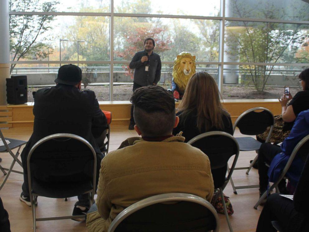 PHOTO: Eddie Guzman performs with the storytelling group Relato:Detroit at Oakland University near Detroit, Oct. 12, 2017.