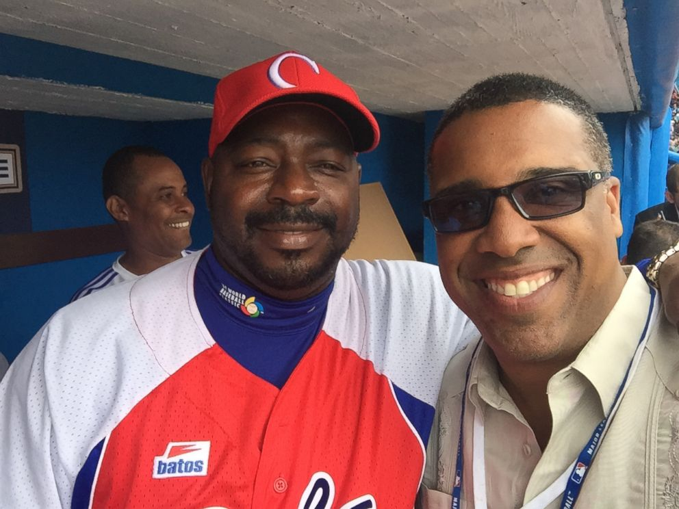 PHOTO: ESPN analyst and former major league baseball player Eduardo Perez (right) is seen here with Pedro Luis Lazo.