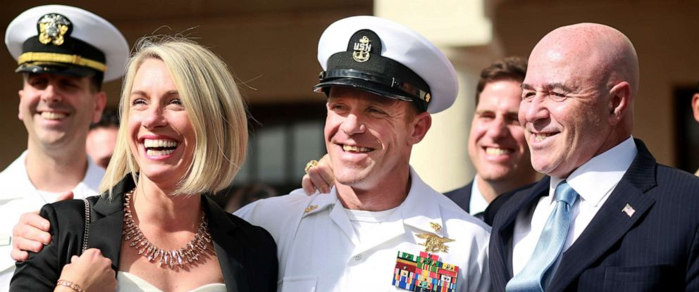 PHOTO:Navy Special Operations Chief Edward Gallagher celebrates with his wife Andrea after being acquitted of premeditated murder at Naval Base San Diego.