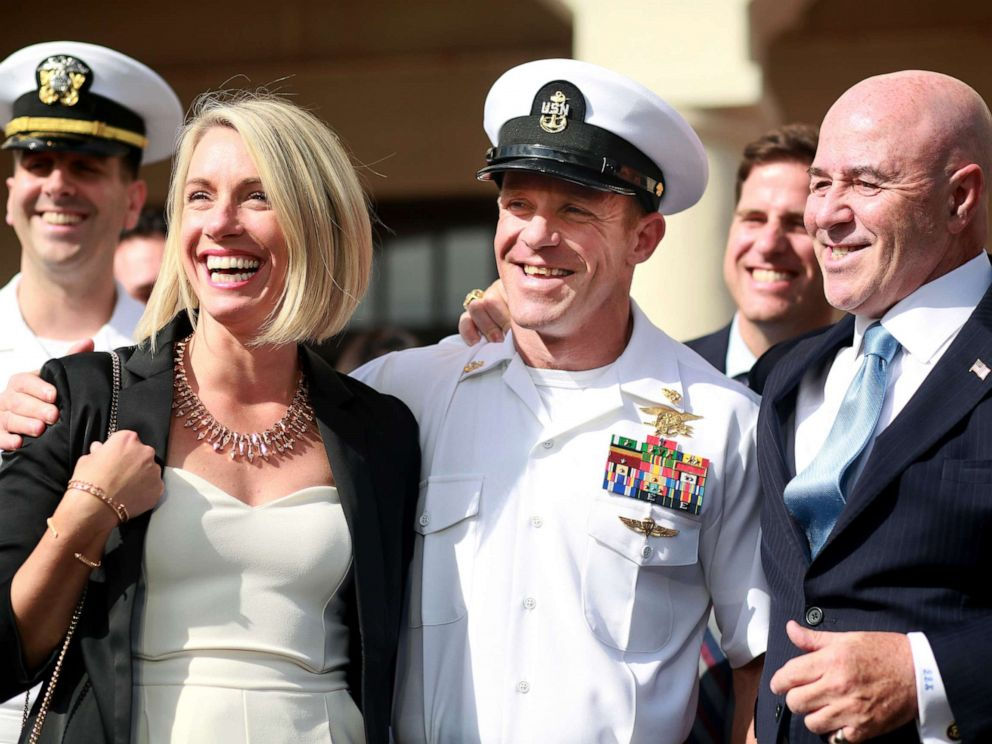 PHOTO: Navy Special Operations Chief Edward Gallagher celebrates with his wife Andrea after being acquitted of premeditated murder at Naval Base San Diego, July 2, 2019.