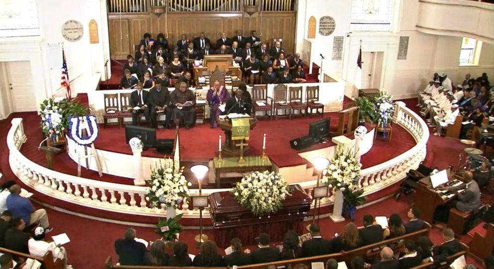 PHOTO: The funeral for Colts linebacker Edwin Jackson, 26, at Big Bethel A.M.E. Church in Atlanta, Feb. 12, 2018.