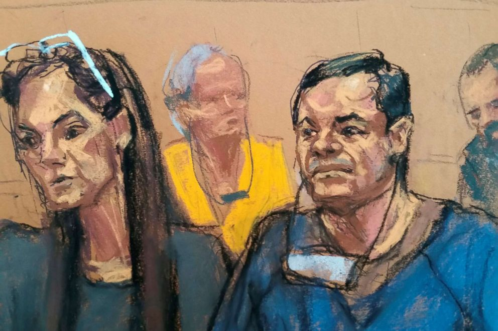 PHOTO: Joaquin El Chapo Guzman, left, sits with his attorney, Michelle Gelernt, in a sketch of a court appearance at the Brooklyn Federal Courthouse in the Brooklyn borough of New York City, New York, May 5, 2017.