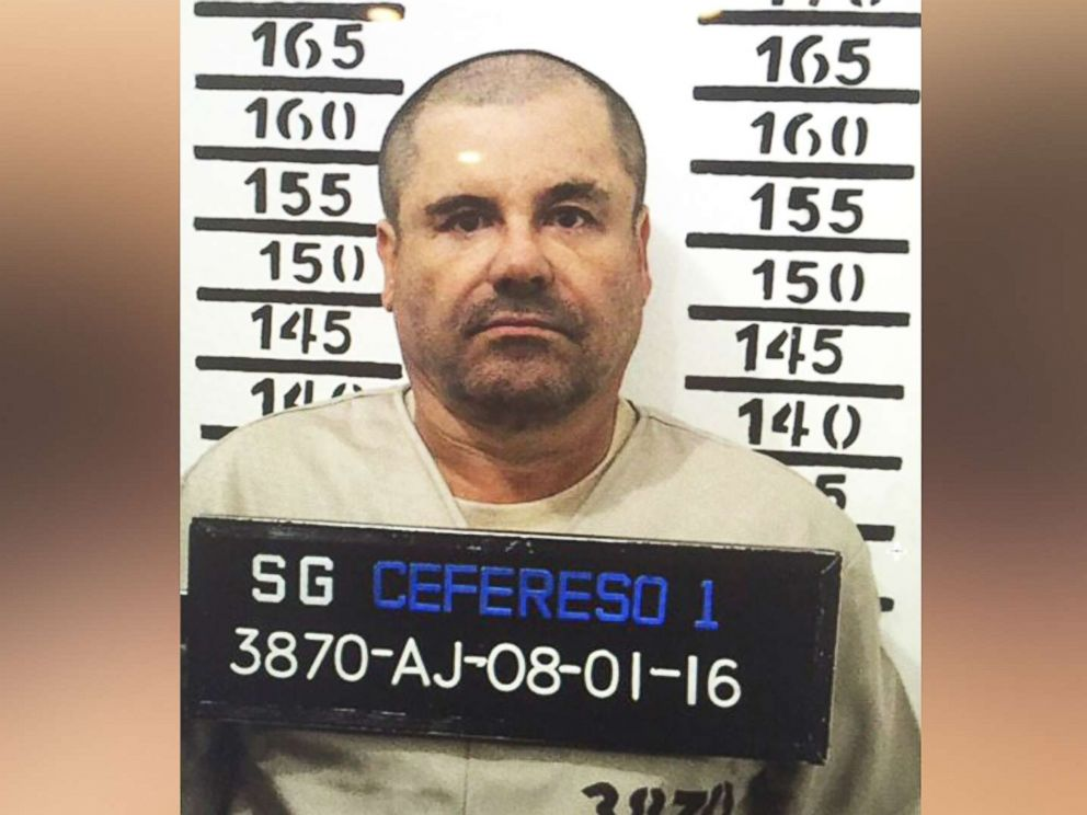 PHOTO: Mexicos most wanted drug lord, Joaquin El Chapo Guzman, stands for his prison mug shot at the Altiplano maximum security federal prison in Almoloya, Mexico, Jan. 8, 2016.