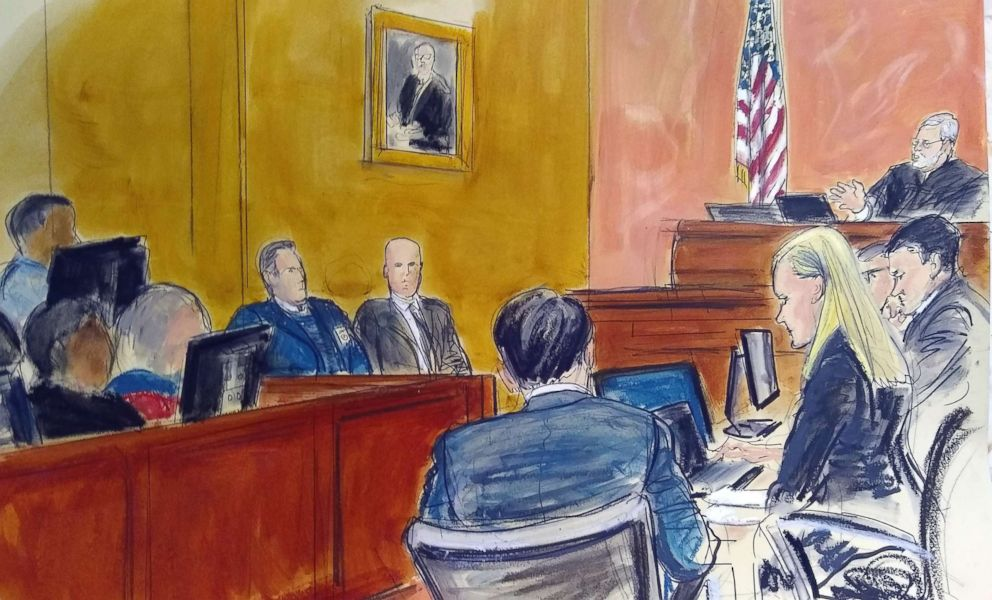 """In this Monday Feb. 4, 2019 courtroom sketch, Judge Brian Cogan upper right, gives instructions to jurors in the trial of Joaquin """"El Chapo"""" Guzman in New York."""