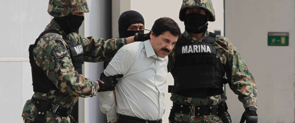 PHOTO: Joaquin El Chapo Guzman, leader of Mexicos Sinaloa drug Cartel, was captured alive overnight in the beach resort town of Mazatlan, considered the Mexican most-wanted drug dealer, Feb. 22, 2014, in Mexico City.