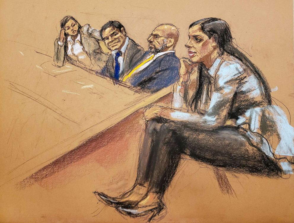 PHOTO: From left:Defense attorney Mariel Colon, accused Mexican drug lord Joaquin El Chapo Guzman, defense attorney A. Eduardo Balarezo and Joaquin Guzmans wife Emma Coronel Aispuro, sit in court in this courtroom sketch in New York, Jan. 30, 2019.