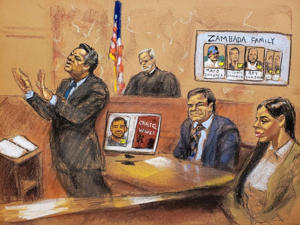 PHOTO: Defense attorney Jeffrey Lichtman (L) gives closing arguments during the trial of accused Mexican drug lord Joaquin El Chapo Guzman (R), as Guzmans wife Emma Coronel Aispuro looks on, in this courtroom sketch in New York City, Jan. 31, 2019.