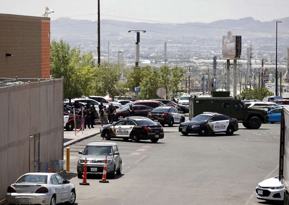 PHOTO: Police stand at attention during a shooting at a Walmart in El Paso, Texas, Aug. 3, 2019.